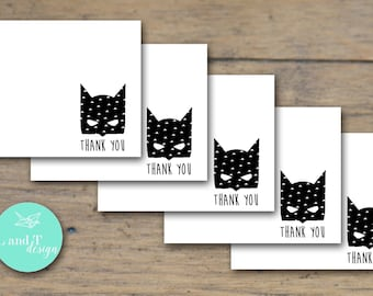 Batman Thank You Note Cards {Set of 5}