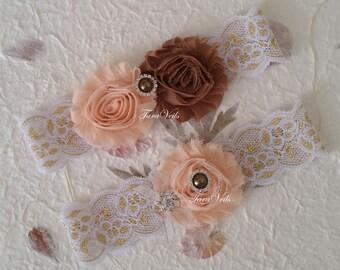 Wedding Garter/Bridal Gareter /Peach-Brown shabby garter/Shabby flowers Garter/Rhinestone Garter/ bridal garter/lace garter/Vintage Garter