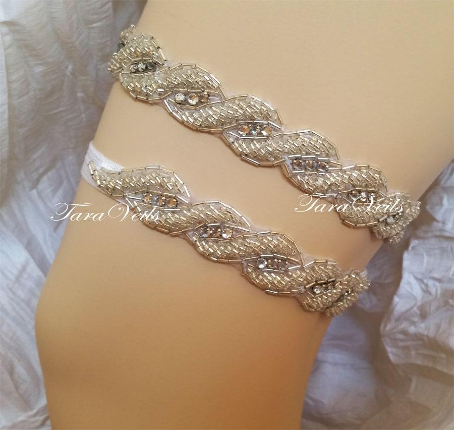 Tradition Of Wedding Garter: Wedding Silver Color/ Bridal Rhinestone Garter Wedding Garters