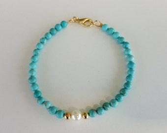 Blue Magnesite White Glass Pearl Bohemian Beaded Bracelet