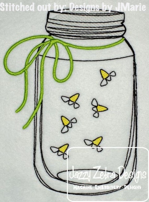 Mason Jar with Fireflies Sketch Embroidery Design - Mason Jar with lightning bug Sketch Embroidery Design