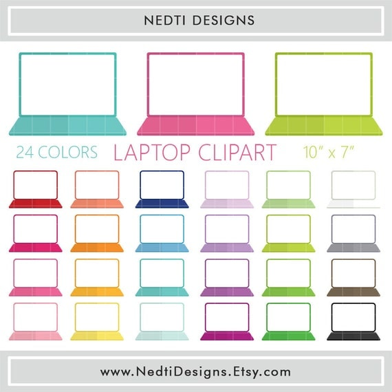 laptop clipart. 24 laptop clipart, colorful rainbow color gadget icon, clip art, png, printable supplies, instant download, by nedtidesigns clipart