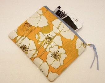orange poppy (poppies) cotton canvas zipper pouch