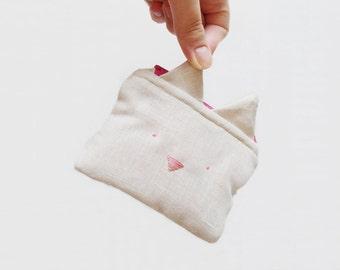 Hot pink linen cat purse