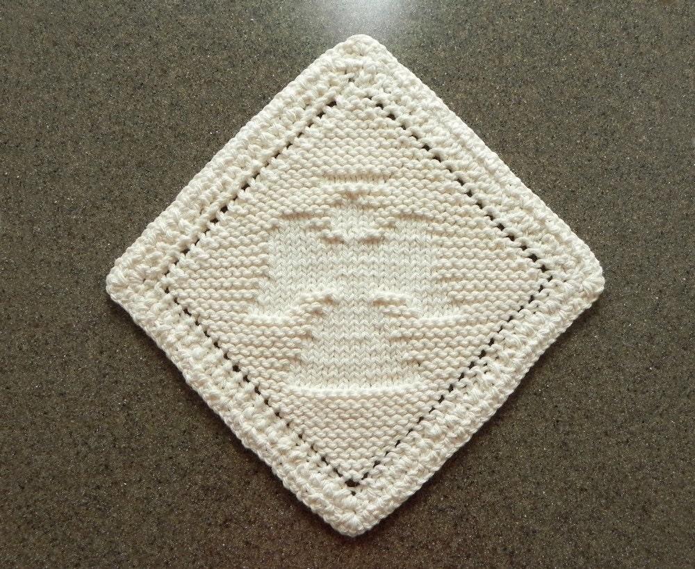 Diagonal Knit Dishcloth Pattern : Diagonal ANGEL Knit Dishcloth Wash Cloth Ivory Cream Hand