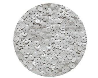 6mm Cup Sequins Facet Paillettes Opaque Ivory Bone