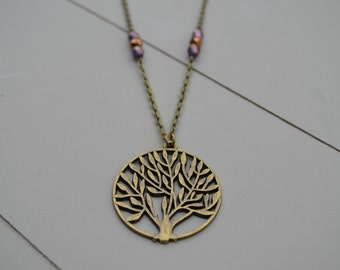 Tree necklace. Tree brass pendant with long chain and purple faceted glass beads. Antique style. Brass.