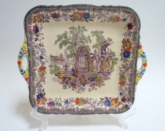 Mason's China Mulberry Polychrome Cake Plate Scenic Castle Ruins