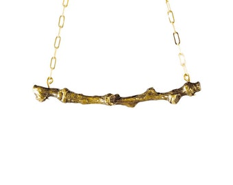 Cottonwood Brass Twig Necklace