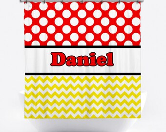 Personalized Shower Curtain - Red Polka Dot Shower Curtain - Custom Shower Curtain with Name - Red, Yellow and Black Bath Decor