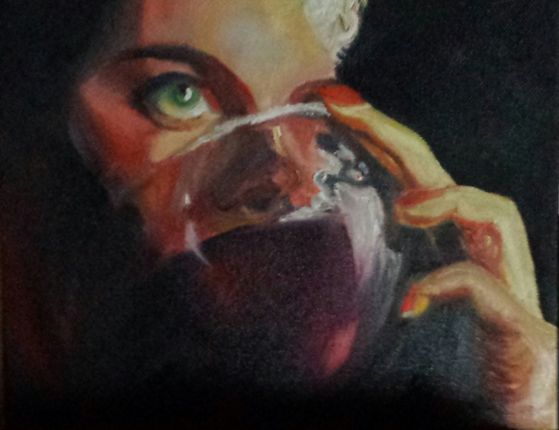 Original oil painting woman drinking wine 8x10 inch framed for Painting while drinking wine