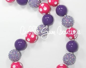 Pink and Purple Bubble Gum Necklace