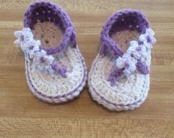 Purple flower sandals