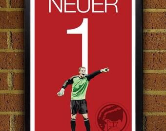 Manuel Neuer 1 Bayern Football - Soccer Poster 8x10, 13x19, print, art, home decor, wall decor, germany, world cup, Munich FC