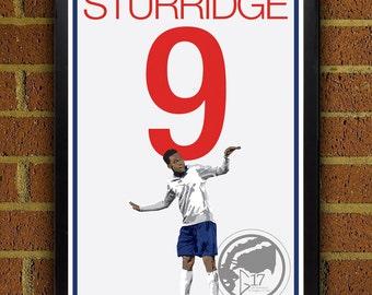 Daniel Sturridge Poster -  England Soccer Poster - 8x10, 13x19, poster, art, wall decor, home decor, world cup. football, futbol