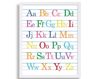 Alphabet Print Colorful Nursery Art Girls Nursery Room Decor ABCs Art Alphabet Nursery Wall Art Baby Shower Gift Letters Cute Nursery Ideas