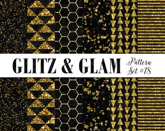 Black and Gold Digital Paper / Geometric Gold Scrapbook Paper / Digital Gold Paper / Hexagon Triangles Glitter / Gold Confetti Digital Paper