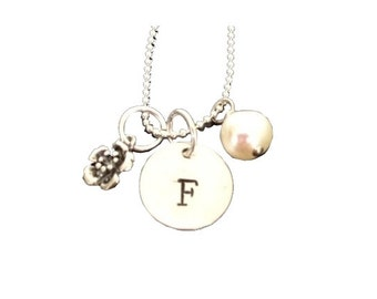 Hand Stamped Jewelry - Personalized Mommy Jewelry - Necklace - Sterling Silver - Initial with Pearl