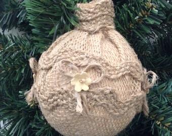 Burlap Christmas Ornaments / Xmas Tree / Vintage Decorative Ornaments / Christmas Fabric Decoration ( set of 3 ) Handmade  Design in Burlap