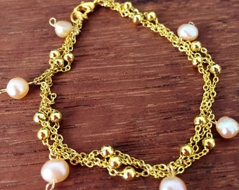 Braided Pearl on Gold Chain Link Bracelet