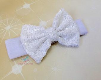 White Sequin Bow Headband, Messy Bow Headband, Messy Bow Headwrap, Glitter Bow Headband Baby Toddler Girls Ladies