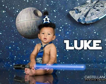 Baby Boy/ Toddler Star Wars Cake Smash Outfit  for First Birthday.  Includes:  Party Hat, Tie and Diaper Cover.