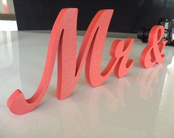 Coral  Glitter Mr & Mrs elegant script wooden letters for wedding table decor. Wedding top table Decor. Rustic Wedding Signage.