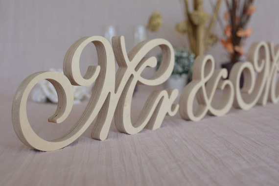 New Font Wooden Letters Mr Mrs Set Wedding Table Decor Mr
