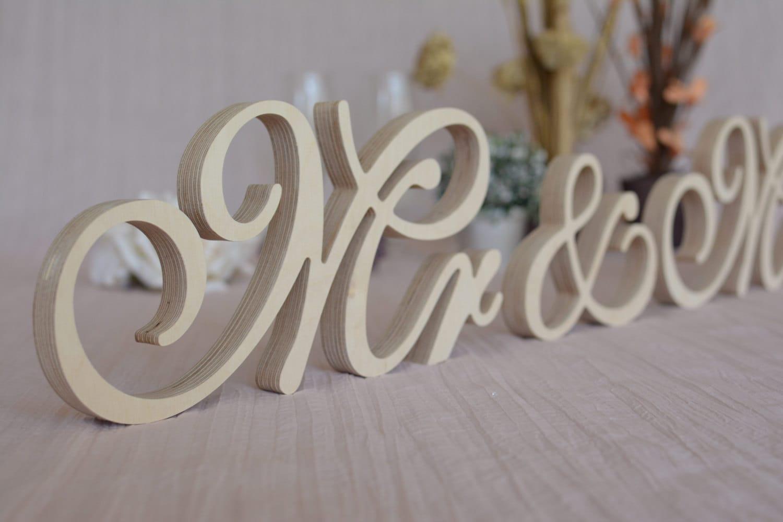 New Font Wooden Letters Mr Mrs Set Wedding Table Decor. Mr