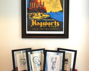 Harry Potter Marauders Prints on book paper Set of 4, Moony, Wormtail, Padfoot & Prongs