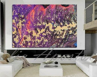 Large Wall Art, Purple Abstract Painting, Print, Acrylic Abstract Art, Huge Wall Art, Canvas Print, Fuchsia Painting, Purple Home Decor