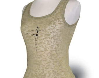 """CLOSEOUT *** Womens Small *** Oxide Green Burn-out Tank Top """"Ballet Arabesque"""". Dancewear top for leotard cover up."""