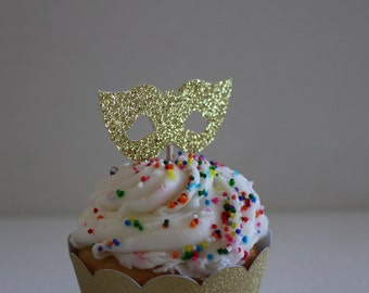 Masquerade Mask Cupcake Toppers - Set of 24 Birthday Party Decorations, Weddings or Bachelorette Cupcake Topper #2025