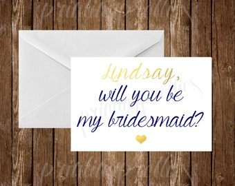 customized will you be my bridesmaid? printable, 4x6 card, printable bridesmaid card, gray and yellow
