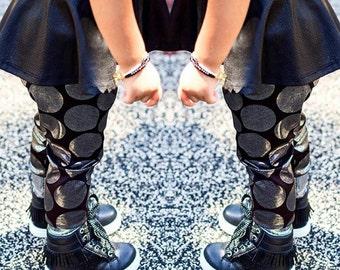 Metallic Silver BIG Polka Dot Leggings