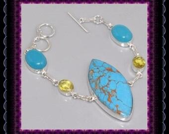 Blue Copper Turquoise, Chalcedony & Lemon Citrine  Bracelet