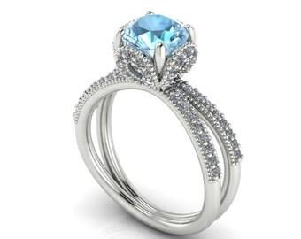 engagement diamond ring wedding rings proposal rings disney princess cinderella ring wedding ring aquamarine stone and 72 diamonds ring - Cinderella Wedding Ring