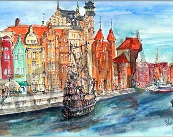 Original  watercolor  painting. Europe.  Poland. Gdansk.