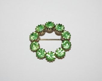 Vintage Green Rhinestone Brooch / Pin 1.4 inches | Ships FREE in US