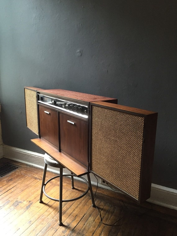 Mid Century Stereo Media Console By Ge Wall Mount Cabinet