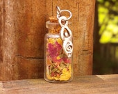 Wiccan Pagan Romani Gypsy Goddess Charm Protection Amulet Mini Witch's Bottle Charm with Herbs and Goddess Charm