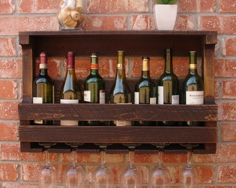 Rustic 7-8 Bottle Wallmount Wine Rack with 6 Glass Slot Holder and Top Shelf