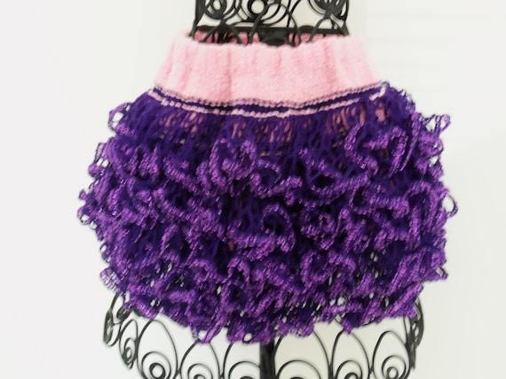 Baby or toddler ruffled skirt. Purple sparkle with pink waistband