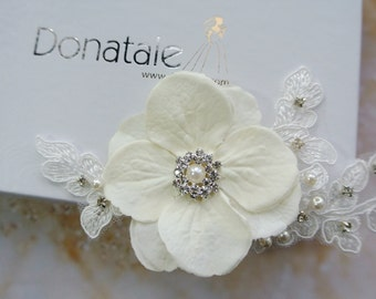 LANA - Wedding Hair Clip Bridal hair Clip Flower Hair Piece Flower Hair Clip Ivory Hair Clip Lace Headpiece Wedding Hair Piece
