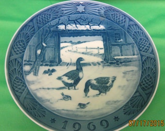 1969 Royal Copenhagen Plate - In the Old Farmyard