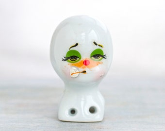 Drowsy Clown - White Porcelain Head - Doll Parts - Altered arts Assemblage