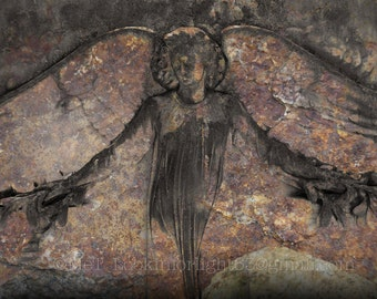Angel Photo | Rustic Stone Angel | Savannah Angel Gravestone Art | Fine Art Angel | Angel wings | Savannah art | Bonaventure Cemetary Angel