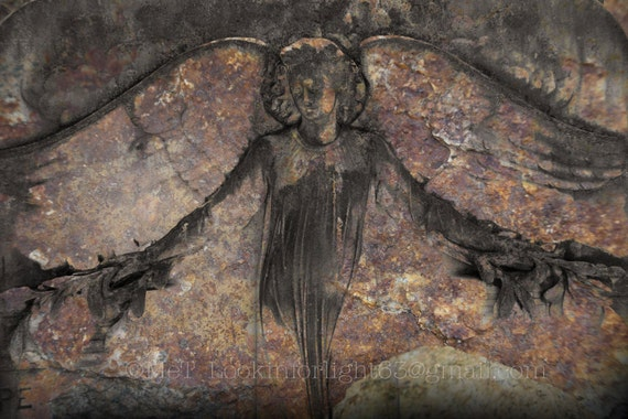 Angel Photo | Rustic Stone Angel | Savannah Angel Gravestone Art | Fine Art Angel | Angel wings | Savannah art | Bonaventure Cemetary Angel