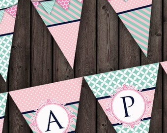 pink and teal birthday banner, shabby chic pink and teal happy birthday banner, stripes, polkadots, modern pink, white, turquoise digital