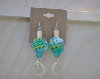 Jewelry - Earrings - Crochet - Wood - Blue, Green, Grey and White